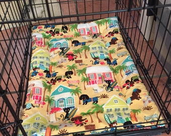 Crate pad, dachshund cotton fabric, crate mat, dog bedding, dog bed, crate bed