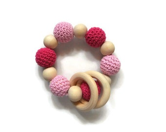 Montessori Infant Teething Pink Bracelet Natural Wooden Toy w Organic Beeswax Finish