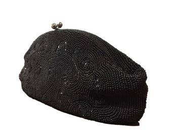 Debbie By John Wind Black Glass Beaded Clutch Bag Purse Handbag 1960s