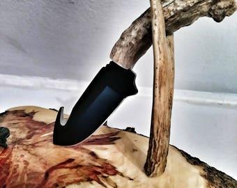 Handmade deer antler knife, black gut hook, free sheath and shipping!