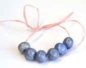 Handmade Ceramic Beads Round in a Soft Blue