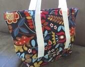 FREE SHIPPING ALWAYS - Fall colors floral print Tote,  handmade bag, custom handmade bags, cotton bag, reusable grocery bag.