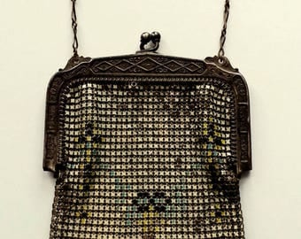 Whiting & Davis Enamel Mesh Flapper Purse, Black Blue Yellow Mesh Dance Bag