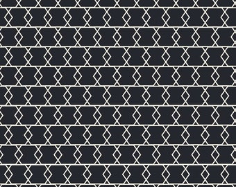 "Black and White Criss Cross Fabric - Riley Blake Designs ""Apricot & Persimmon"" by Carina Gardner. 100% cotton, C4903"