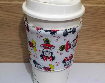Mickey and Minnie Mouse Fabric Coffee Cozy