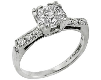 1920s 075ct old mine cut diamond platinum engagement ring - 1920s Wedding Rings