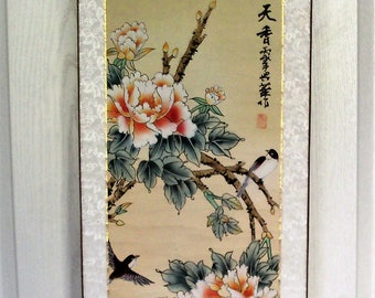 Chinese Silk Scroll Of Birds & Flowers With Ceramic Handles