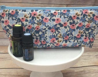 Blue and Pink Floral Essential Oil Case, Blue Essential Oil Pouch, Essential Oil travel Case, Essential Oil Bag, Floral Zipper Pouch