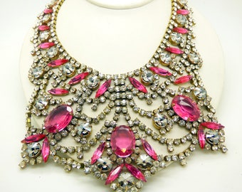Czech Glass Husar D Pink and Clear Huge Statement Necklace