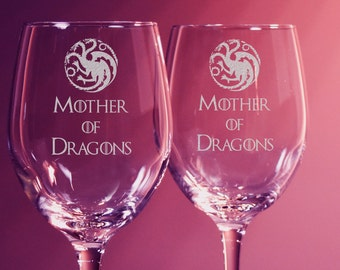 Mother of Dragons, Game of Thrones, Wine Glasses, Targaryen, Set of 2 Etched Wine Glass, Personalized