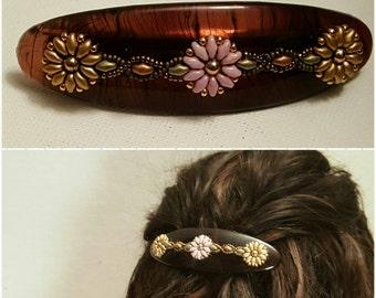 Hair Jewelry Tortoiseshell Beaded flowers Barette, Handmade, Superduo Beads