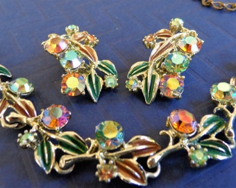 Signed PAM Vintage Necklace Earrings Aurora Borealis Green Brown Enamel PRISTINE Condition