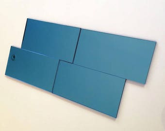 """Blue Mirrored Acrylic Rectangle Mosaic Wall Tiles, Sizes: 1cm to 25cm -  1"""" to 10"""""""