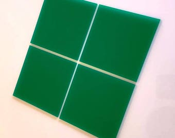 "Green Gloss Acrylic Square Crafting Mosaic & Wall Tiles, Sizes: 1cm to 20cm - 1"" to 7.9"""