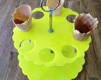 """Round Yellow Gloss Acrylic Ice Cream Cone Stands with Silver Metal Round Handle Rod (holes are 3.5cm 1.5"""" Diameter) 4, 8 or 12 Hole Options"""