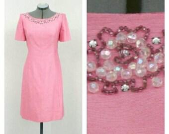 Vintage 60s Mod Light Pink Dress, Silk Dress, Shift Dress, Beaded Dress, Party Dress, Mod Dress, Short Formal Dress, Knee Length Dress