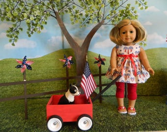 """18"""" doll clothes, American Girl fitting doll clothes - 4th of July doll clothes - 18 inch doll clothes, 4th of July, red white and blue"""