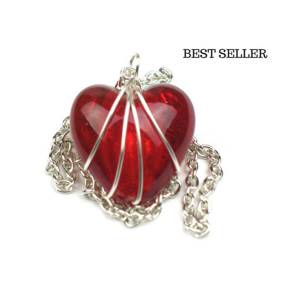 Red Heart Necklace with Silver Chain // Girlfriend Gift // Mom Gift // Best Seller