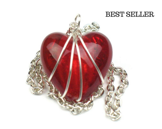 Red Red Heart Necklace with Silver Chain // Girlfriend Gift // Mom Gift // Best Seller