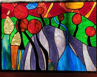 Hundertwasser inspired stained glass window/panel