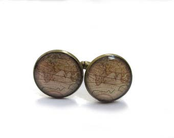 WORLD MAP CUFFLINKS - Vintage Map Cufflinks - World traveler gift - Gift for - Wedding Cufflink for groom - Groomsmen
