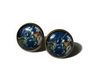 EARTH EARRINGS - earth stud earrings - earth jewelry - space jewelry - earth planet - earth posts - earth studs - planet jewelry
