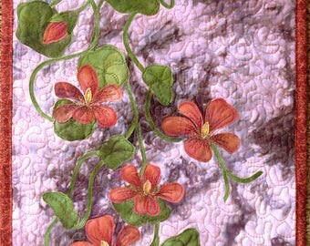 Hand painted fabric art quilt, wallhanging  - Nasturtiums