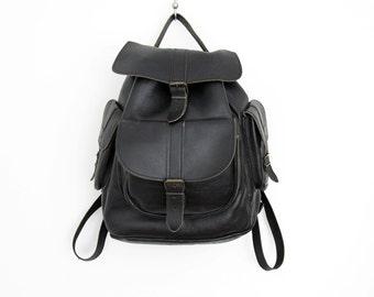 Vintage Backpack // Black Leather Rucksack