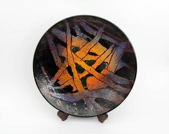 Beautiful Large Vintage Enamel Plate // Dekor Zagreb Ručni Rad Yugoslavia // Signed Bobinac T. Hand Painted Enamel Over Metal