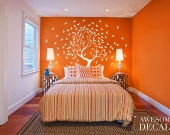 Large Birds Tree Decal - Living Room Wall Decal - Custom Wall Sticker - Tree Decals – Vinyl Decals - Awesome decals / 079