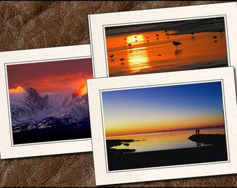 3 Sunrise Greeting Card Set - 5x7 Sunrise Photo Note Card - Blank Note Cards Handmade - Photo Greeting Cards With Envelopes (NA16)