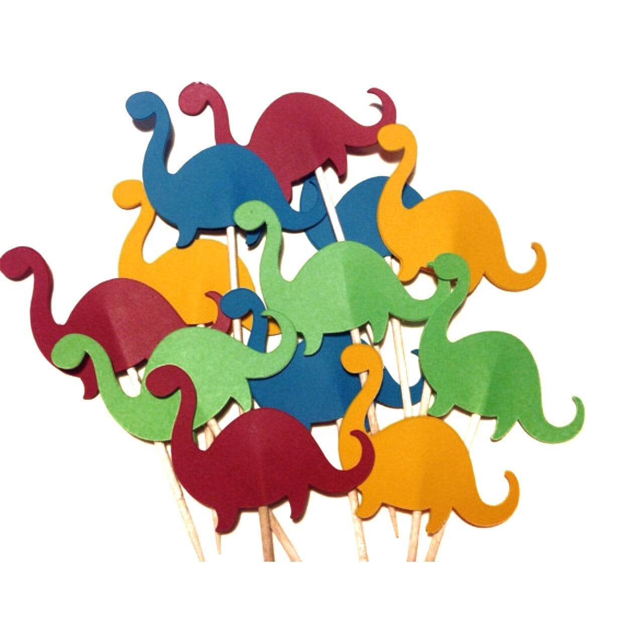 12 Dinosaur Cupcake Toppers Paper Die Cut Select a Color