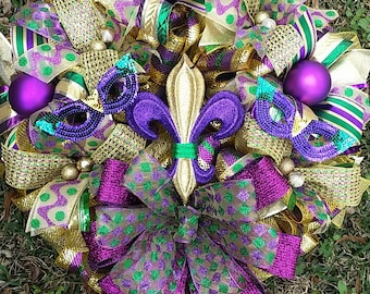 XXL 25x28 Mardi Gras Deco Mesh Multi Textured Ribbons with  Fleur de Lis and Masks Accented with Ornaments