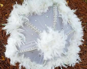 3 DAY SALE REG. 58.00 now 48.00 Wedding Umbrella, Second Line Umbrella, Bride Umbrella, Customizable Umbrella,  Feather Umbrella,