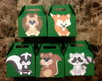 Small Woodland Animal Gable Box, Animal Themed Birthday Favor, Woodland Animal Themed Birthday, Birthday Favor for Childs Party