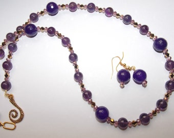 Genuine Purple Amethyst Gemstone and Purple Crystal and Gold Crystal Necklace and Earrings Set