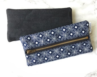 Bullet Journal Pen & Pencil Zippered Pouch Navy Blue and White