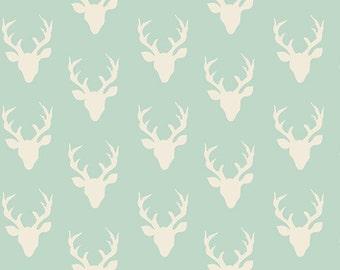 Knit TINY Buck Forest Mint - Hello Bear, Bonnie Christine, Art Gallery, knit fabric, modern knit, jersey knit, deer, mini deer, mint fabric
