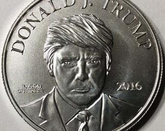 Silver coin 1 troy oz .999 pure Donald Trump Make America Great Again