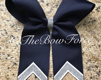 Navy Silver Glitter Tail Bow
