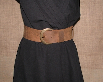 Handmade brown aged leather belt