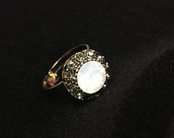 White opal crystal ring