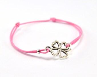 Bracelet pink cord clover