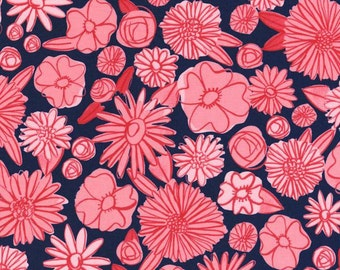 Hatbox Navy Blue and Pink Flowers Floral Cotton and Steel Fabric 4000-002 BTY