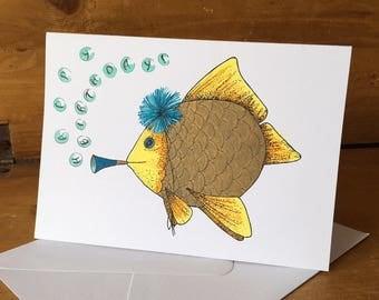 Handmade Birthday Card | Fish Card | Hand drawn