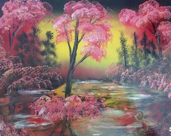 Spray Paint Art Swamp Pink Jungle Landscape