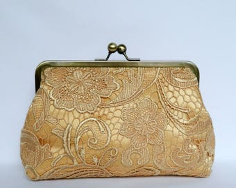 Gold Lace Clutch, Gold Clutch, Gold Bridal Clutch, Gold Wedding Clutch, Bridal Clutch, Bridesmaid Clutch, Evening Clutch