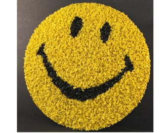 1970s Popcorn Plastic Smiley Face, Melted Plastic Happy Face, Vintage Emoji Face, Yellow, Black, Have A Nice Day!