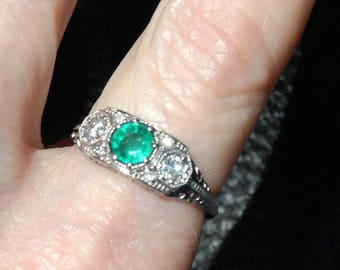Emerald Diamond Ring, Art Deco Style Engagement, 14K White Gold