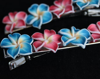Hairclip, plumeris, flower, rockabilly, hawaii, hawaiian, surf clip, bandana, crocodile clip, fimo, polymer, clay, mermaid tears, flowers